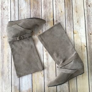DKNYC new tan suede buckle wedge mid calf boots 7